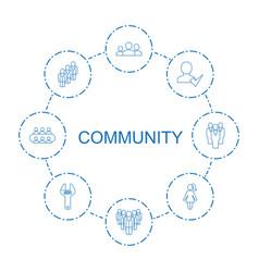 8 community icons vector