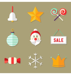 9 Christmas Icons Set 1 vector image