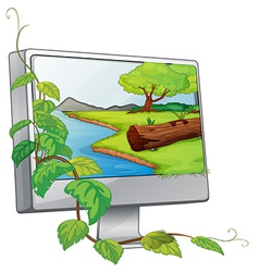 A monitor showing a river in a forest vector