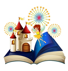 A storybook with a flying fairy near the castle vector image