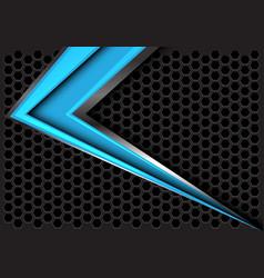 abstract blue arrow speed on gray hexagon mesh vector image