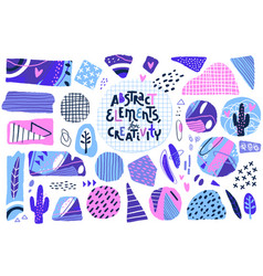 Abstract cut out shapes textured hand drawn vector