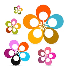 Abstract Retro Flowers Set Isolated on White vector