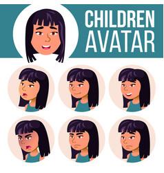 Asian girl avatar set high school face vector