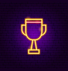 award cup neon sign vector image