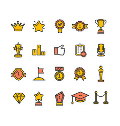 Award signs color thin line icon set vector