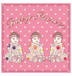 Baby-shower-girl-vintage-baby-girl-triplets vector