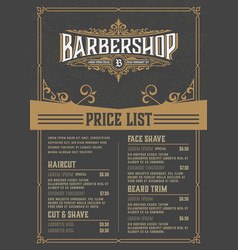 Barbershop price list flyer layered vector