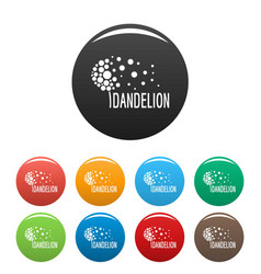 Beautiful dandelion logo icons set color vector