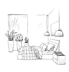 Bedroom modern interior sketch Furniture vector image