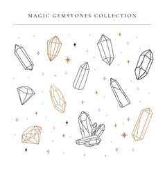 big set hand drawing crystal gems line art vector image