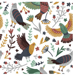 birds and forest seamless pattern vector image