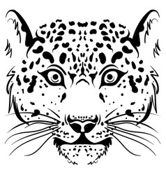 Black and white sketch leopard face vector