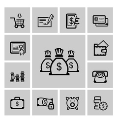 black business icons vector image