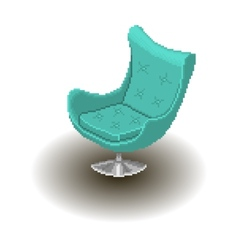 Blue armchair pixel style vector image