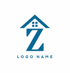 blue z initial letter with house sign for real vector image
