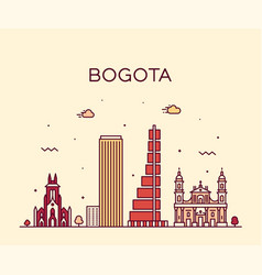 bogota skyline colombia trendy linear city vector image