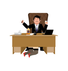 boss relax with whiskey and secretary businessman vector image