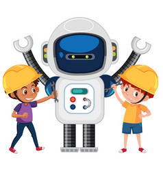 Boys playing with robot vector