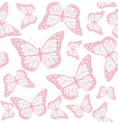 Butterfly seamless pink vector