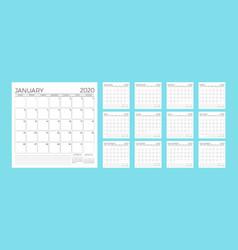 Calendar 2020 monthly calendar planner template vector