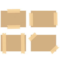 Cardboard paper background with brown tape on vector