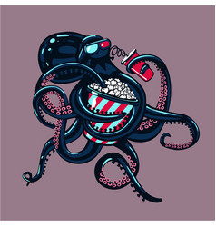 Cartoon octopus is watching movies on 3d glasses vector