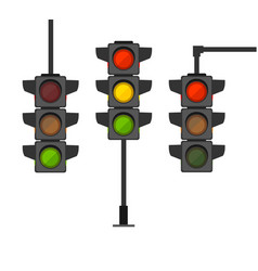 cartoon traffic light different types set vector image