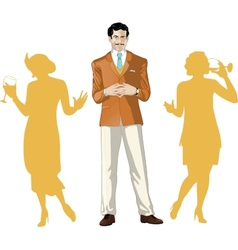 Caucasian male party host with female guests vector