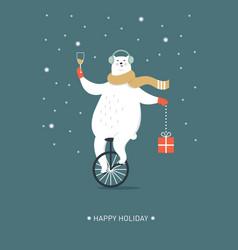 christmas card seasons greetings polar bear is g vector image