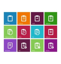 Clipboard icons on color background vector