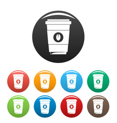 coffee plastic cup icons set color vector image