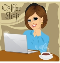 college student with laptop in coffee shop vector image