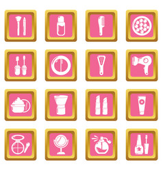 Cosmetics icons set pink square vector