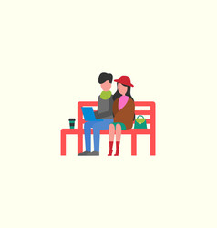 couple sitting on wooden bench working on pc vector image