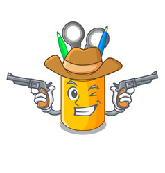 Cowboy organizer desktop top view with cartoon vector
