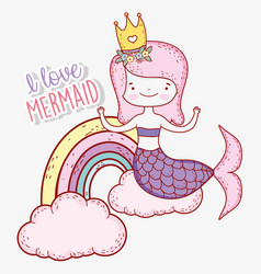 Cute mermaid wearing crown with rainbow and clouds vector