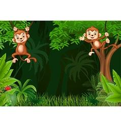 Cute monkey hangin in the jungle vector