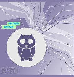 cute owl cartoon character icon on purple vector image