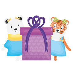 Cute polar bear and tiger with gift in birthday vector