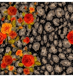 Dark leopard skin and orange roses vector