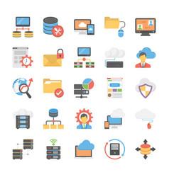 database and storage flat icons set vector image