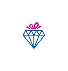Diamond gift logo icon design vector