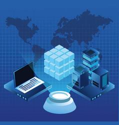 Digital global technology blue concept vector