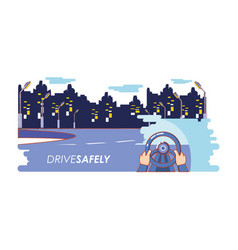 driver safely campaign label vector image