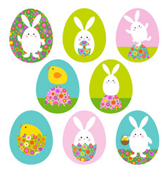 easter bunny and baby chick graphics on easter vector image