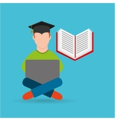 Eduation online concept student e-learning school vector