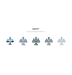Equity icon in different style two colored and vector
