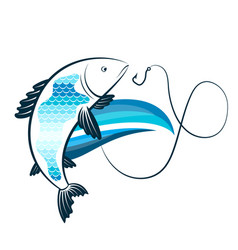 Fish on the wave and a fishhook vector