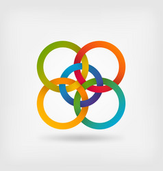 Five interlocked circles in gradient rainbow vector